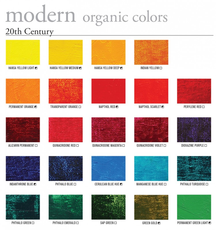 Gamblin Modern Oil Paint Color Swatches
