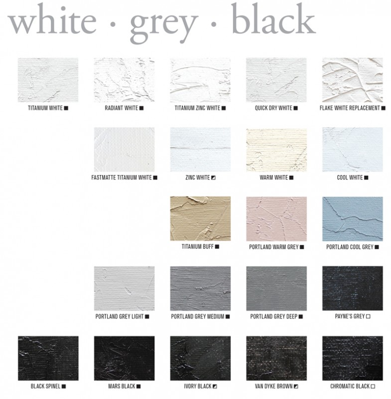 Gamblin White through Black Oil Paint Color Swatches