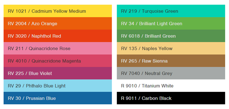 color chart for spray paint