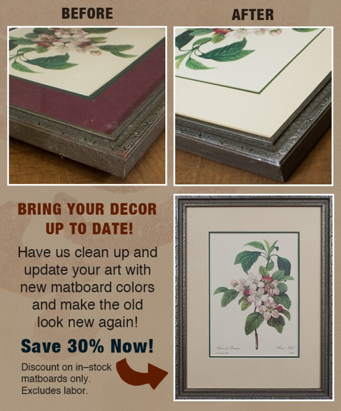 Update your home decor art with a new mat. Bucks County picture framer.