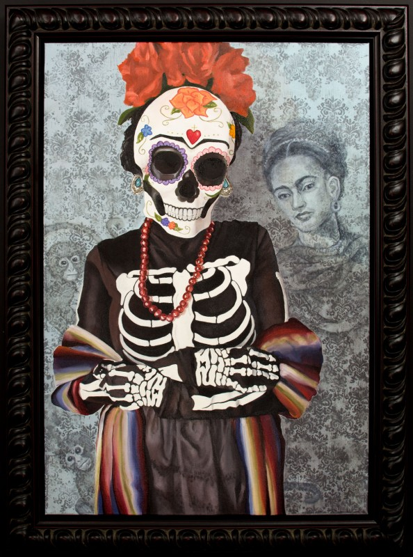 Image of Day of the Dead Painting in Wood Picture Frame