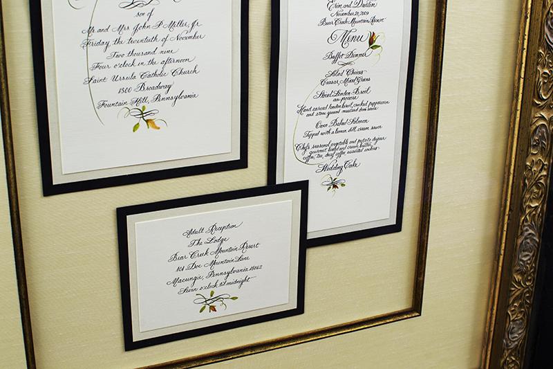 framed marriage invitation doylestown bucks county pa