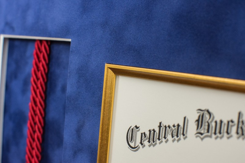 Detail of diploma a in picture frame