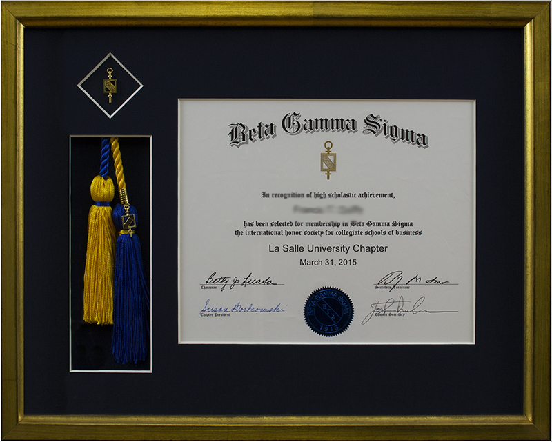 Image of Diploma and Tassel in Gold Frame