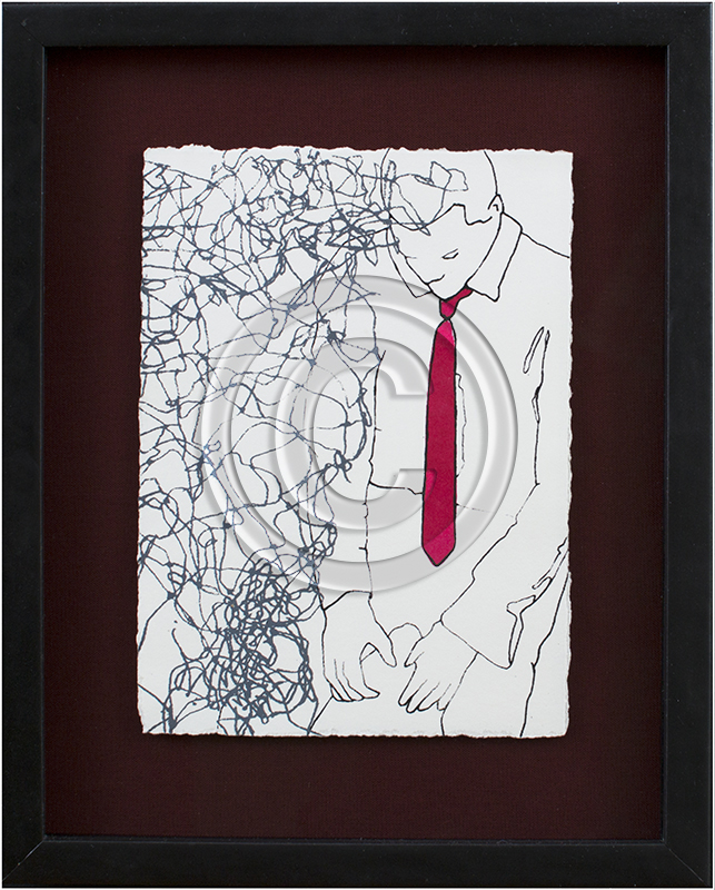 Image of Pen Drawing in Black Frame