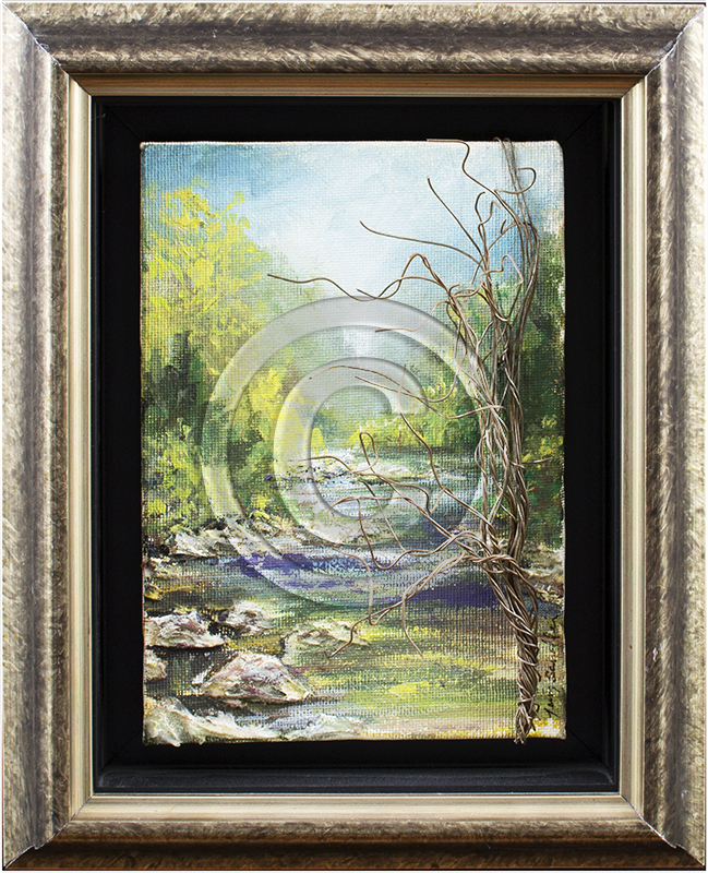 Framed creek painting