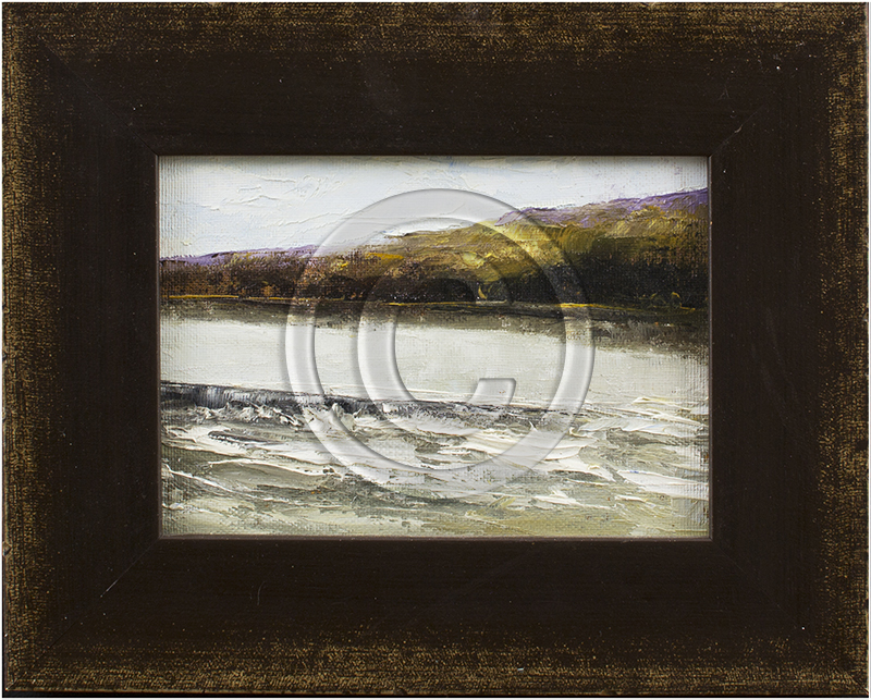Framed painting of a river