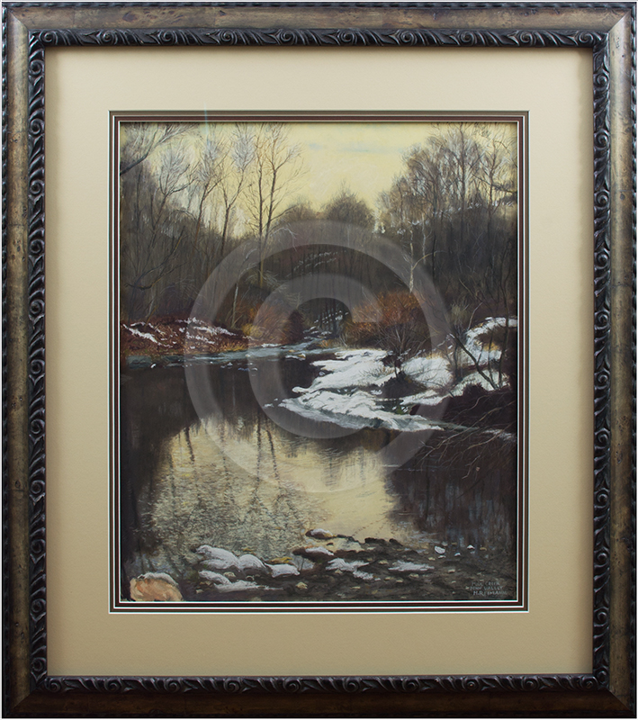 Image of Landscape Painting in Picture Frame