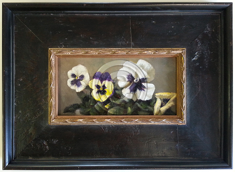 Image of Framed Flower Oil Painting