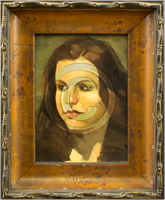 Image of Oil Painting Portrait in Frame