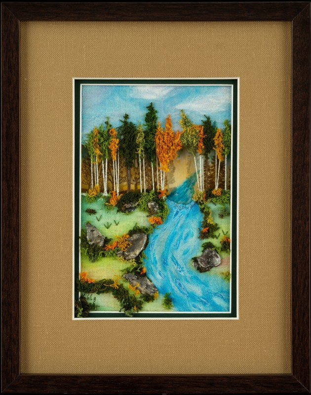 Image of Mixed Media & Needlework Landscape in Picture Frame