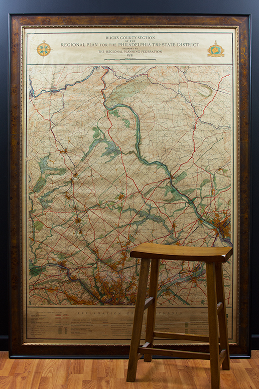 Large Antique Map in Picture Frame | Doylestown, Bucks ... on maps in text, maps in art, maps in home, maps in paintings, maps in paper, maps in wood,