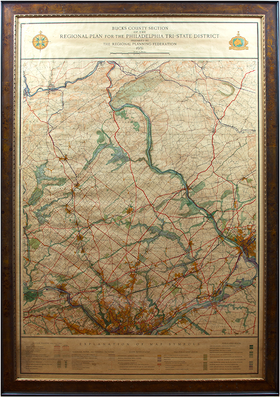 Image of Large Antique Map in Picture Frame