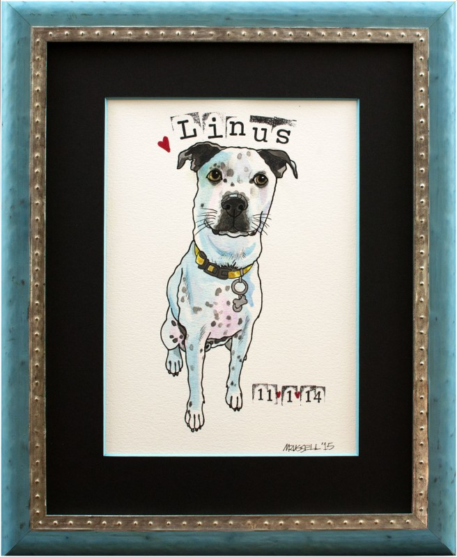 Image of Dog Portrait in Decorative Wooden Frame
