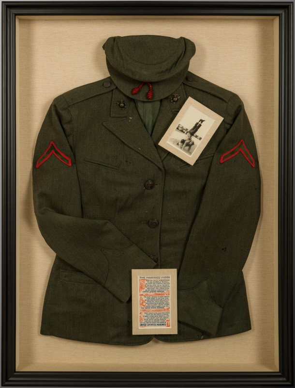 Image of Women's WWII Marine Uniform with Shadow Box Framing