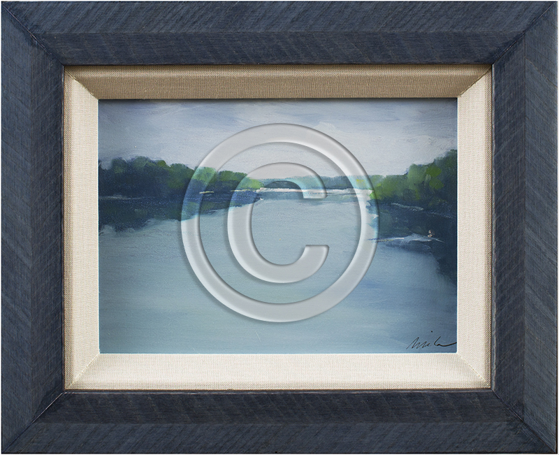 Image of River Painting in Blue Frame