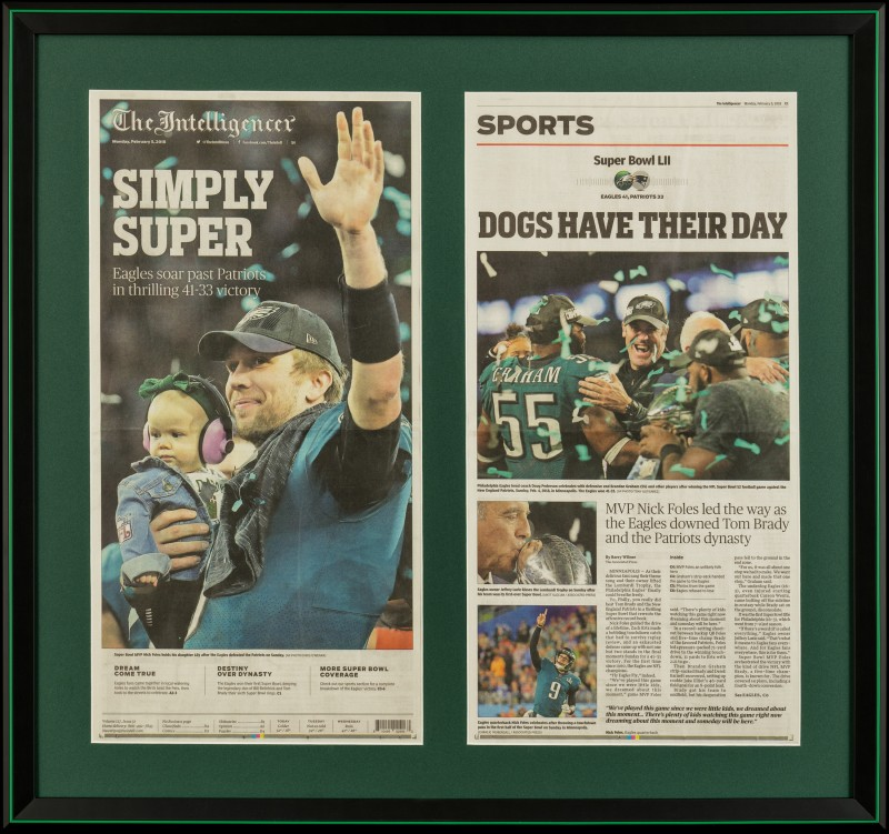 Image of Eagle's Super Bowl Win Article in a Black Picture Frame