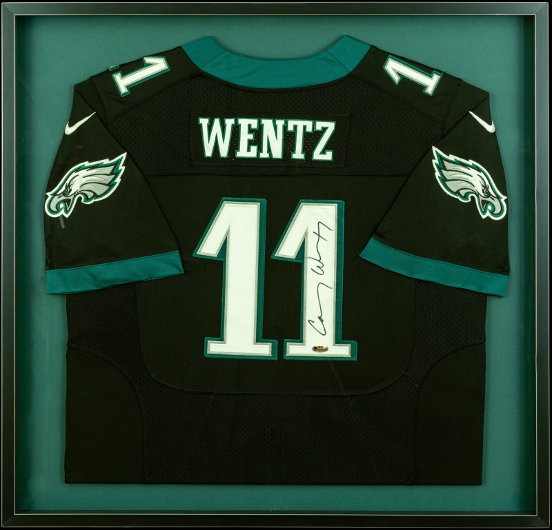 Image of Carson Wentz Jersey in a Shadowbox Frame