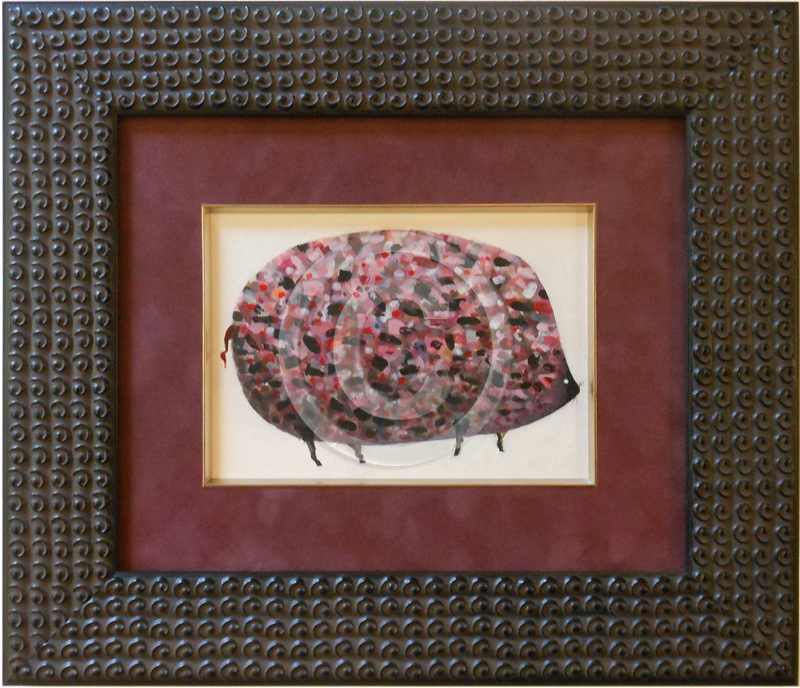 Image of Framed Painting of a Pig