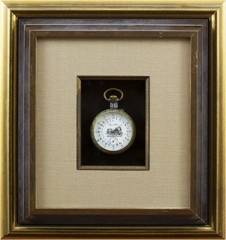 Image of Pocket Watch Shadowbox and Gold Frame