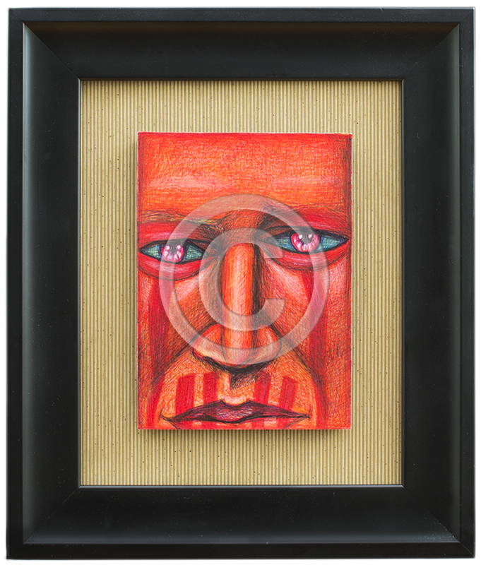 Image of Red Face Painting in Black Frame