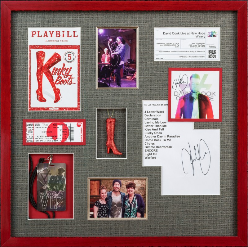 Image of Musical Theater Memorabilia in a Red Frame