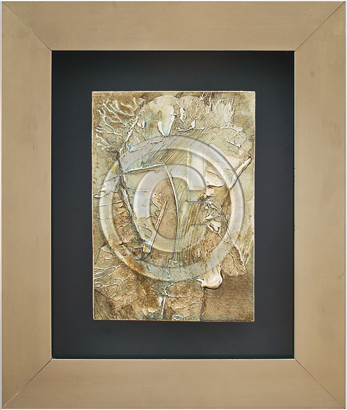 Image of Abstract Painting in Tan Frame