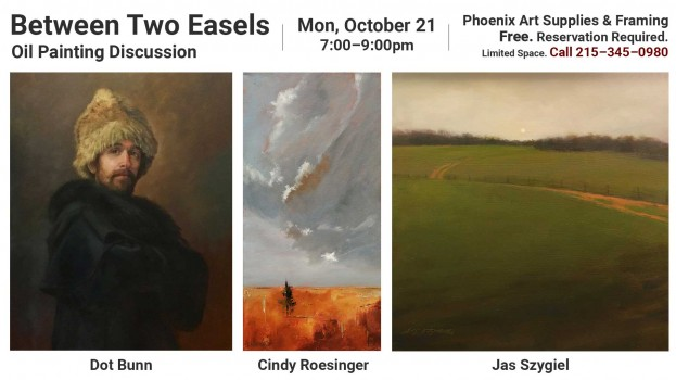 An oil panel discussion with three artists on October 21, 2019